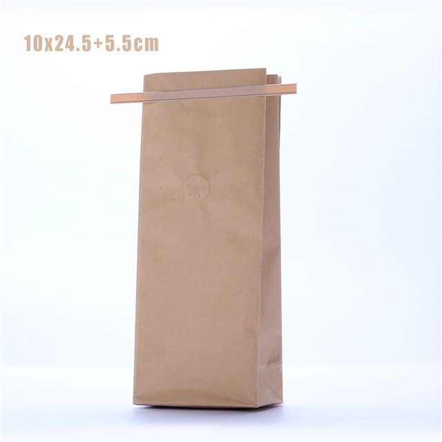 5 unids 10x25 cm 250g Bloque Inferior Bolsas de Café/Snack Food Packaging/Kraft Estaño Empate Bolsas de café Con Válvula