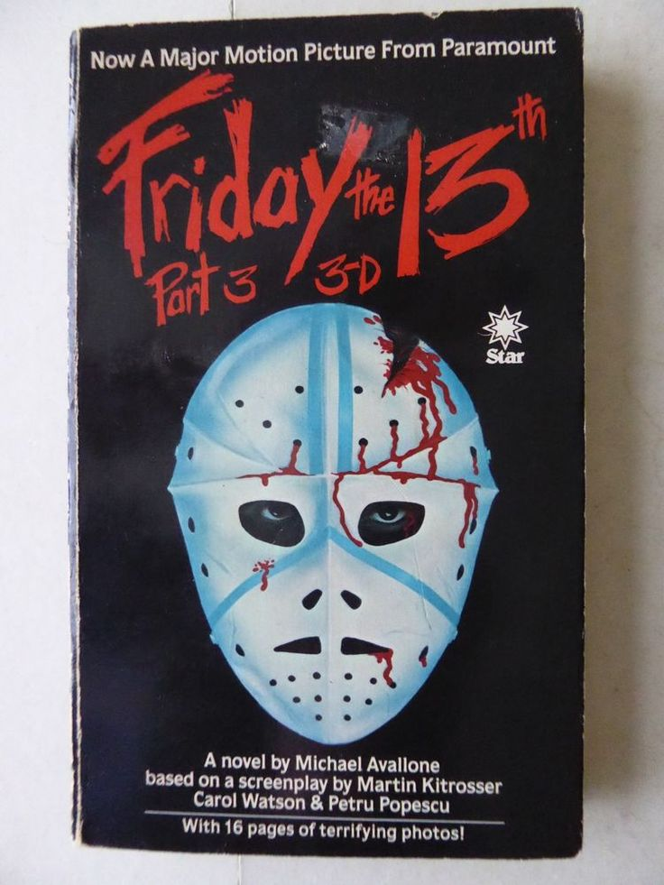 Friday The 13th Part 3 3D A Novel by Michael Avallone 1982 Paperback with Photos   http://www.ebay.co.uk/itm/Friday-The-13th-Part-3-3D-A-Novel-by-Michael-Avallone-1982-Paperback-with-Photos-/371679942168