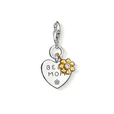 "THOMAS SABO Charm pendant ""BEST MOM"" with lobster clasp, made from 925 Sterling silver; 18K yellow gold plated with white syn. zirconia. Only the best for mom: heart-shaped Charm with a small flower in yellow gold plating and with syn. zirconia. Size: 1.8 cm"