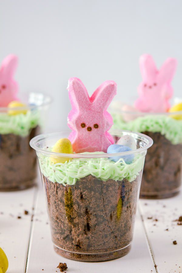 Bunny Peeps, Dirt Cups. Plastic cups are great if taking to a school or other, outdoor egg hunt Easter party. Also if you need to make a lot.