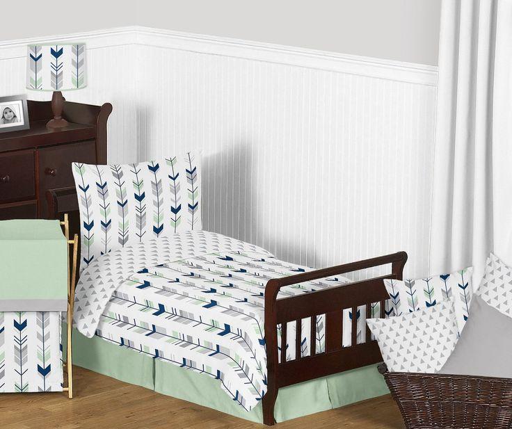 Grey, Navy Blue and Mint Woodland Arrow Print Boys or Girls 5 Piece Toddler Bedding Comforter Sheet Set
