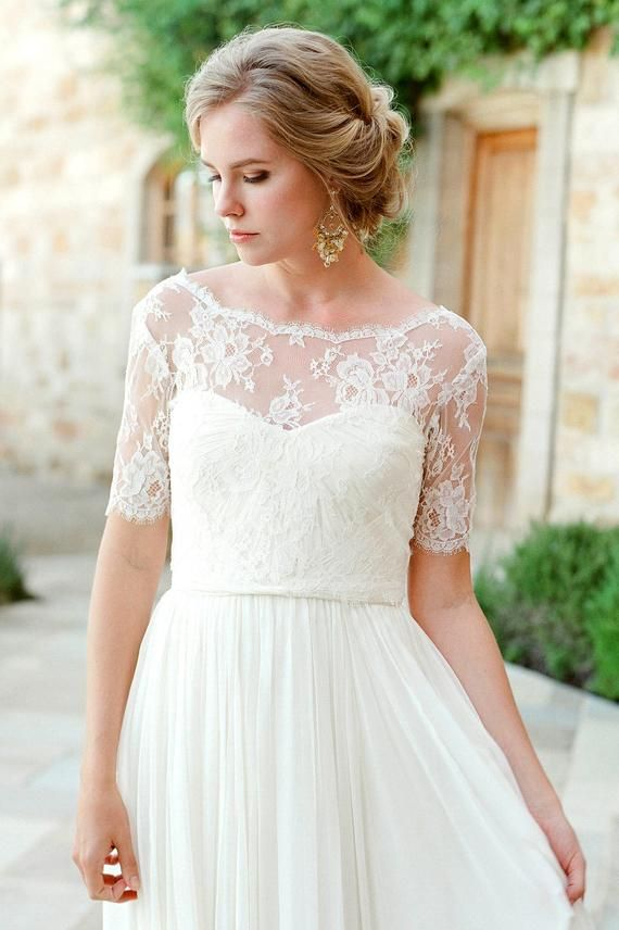 Tali French Lace Cover Up V Back Topper In Ivory Wedding Dress
