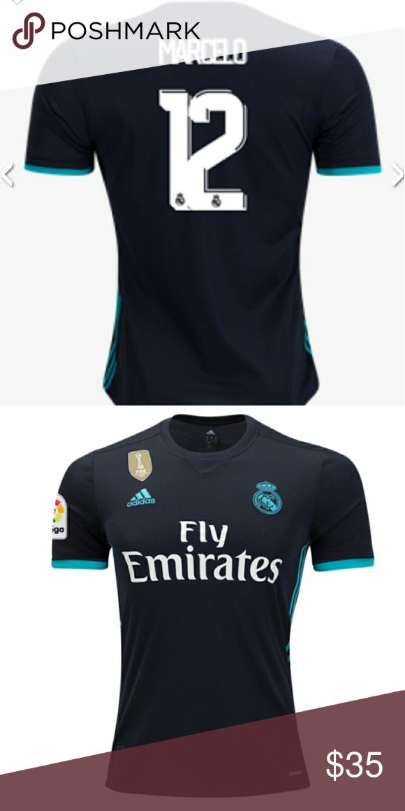 Marcelo #12 black away real madrid jersey This a brand new marcelo #12 black away jersey season 2017-2018    Prices are firm, you only get discount by adding 2 jerdeys  to your bundle. adidas Shirts Tees - Short Sleeve