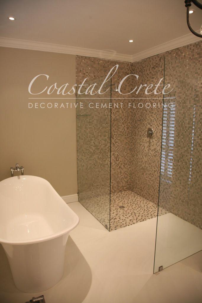 Coastal Crete Flooring - Lily White Self-levelling Colour Cement Flooring | Smooth | Seamless | Bathroom Flooring