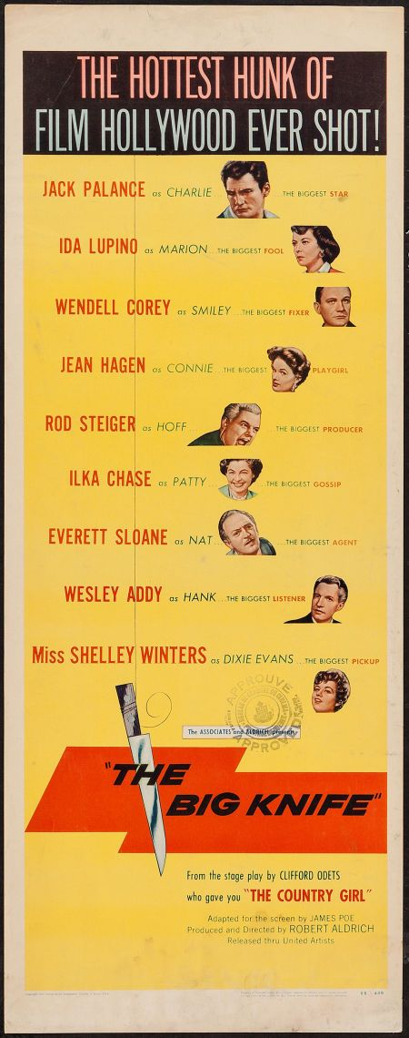 The Big Knife (United Artists, 1955). Insert Drama. Starring Jack Palance, Ida Lupino, Wendell Corey, Jean Hagen, Rod Steiger, Shelley Winters, Ilka Chase, and Everett Sloane. Directed by Robert Aldrich.
