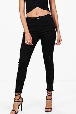Brianne Slit Knee Destroyed Hem Skinny Jeans