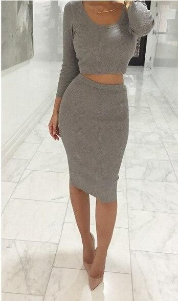 2018 Winter Women Two Piece Outfits Long Sleeve Midi Pencil Bodycon Dress Elegant Casual Knitting Cotton Sweater Dress Gray S 1