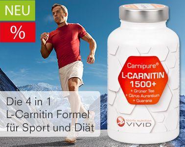 """L-Carnitin 1500 plus - Die 4 in 1 L-Carnitin Formel für Sport und Diät. """"L-Carnitin 1500 plus"""" enthält pro Tagesdosis 1500mg vegetarisches Marken L-Carnitin von Carnipure® (als L-Carnitin Tartrat) und zusätzlich GUARANA, CITRUS AURANTIUM und GRÜNER TEE EXTRAKT zur Energiesteigerung sowie Diätunterstützung."""