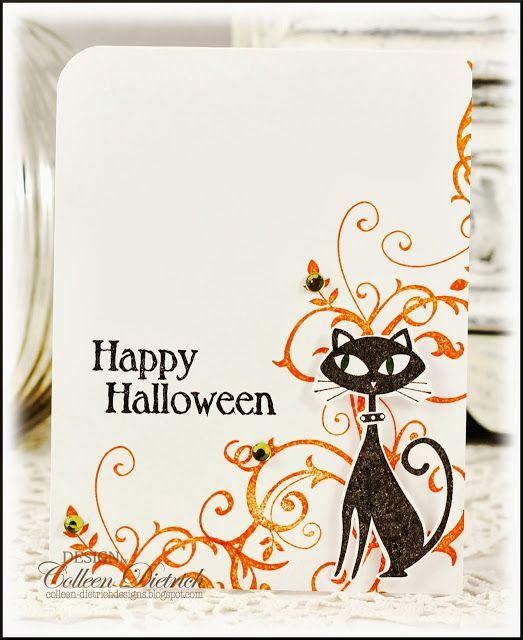 CASE'd Halloween black cat card using Stampin' Up! cat, swirls; Inspired By Stamping sentiment.