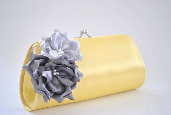 Pale yellow clutch with Gray and Silver flowers by Vanijja