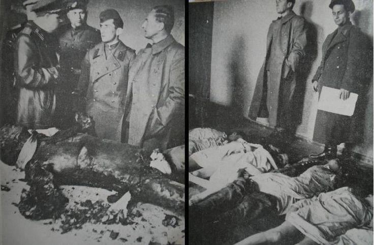 "1945, Allemagne, Berlin, Procédure russe d'identification des corps des enfants Goebbels, de Joseph Goebbels et du ""General der Infanterie"" Hans Krebs"