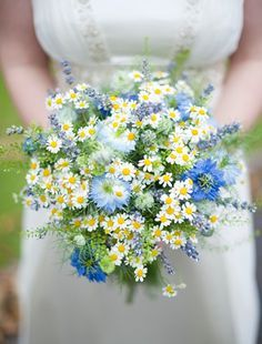 wedding flowers larkspur and chamomile - Charmed Life Ceremonies