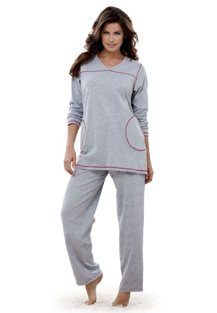 Topstitched pajamas by Dreams & Co® | Plus Size Pajamas - Sets | Roamans