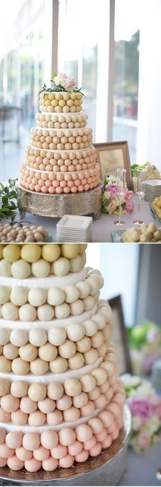 I do enjoy the idea of cake pops in the shape of a cake. No cutting fee for each guest, and not such huge portions.