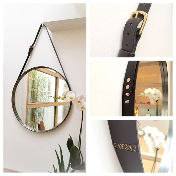 $159 Leather Strapped Mirror Adnet Jamie Young Style Captain's Mirror Hanging BDDW Gobi KIT