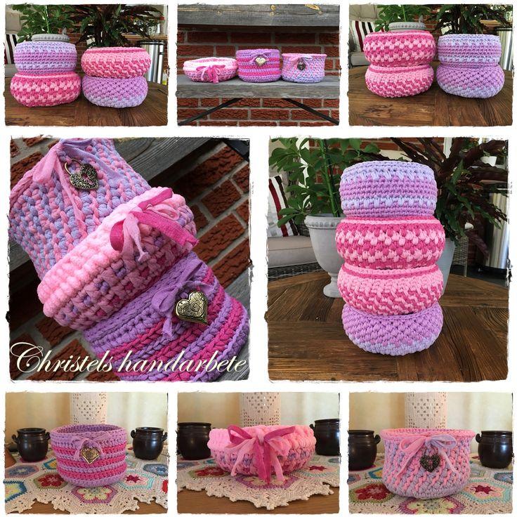 Virkade korgar Crochet basket