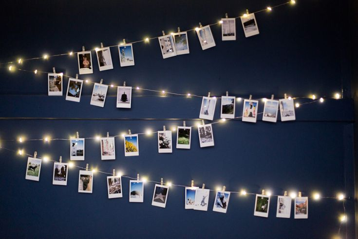 Mr. Kate - DIY Fairy Lights and Instant Photos Headboard