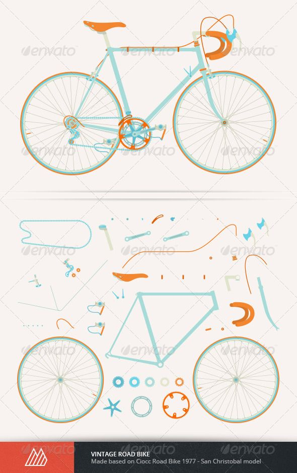 Vintage Road Bike Fully vector vintage road bike made based on Ciocc Road Bike 1977 – San Christobal model. Detailed illustration, fully layered.  	 You can scale it up or scale it down to suit your needs. You can also easily recolour it with your own prefered colour.