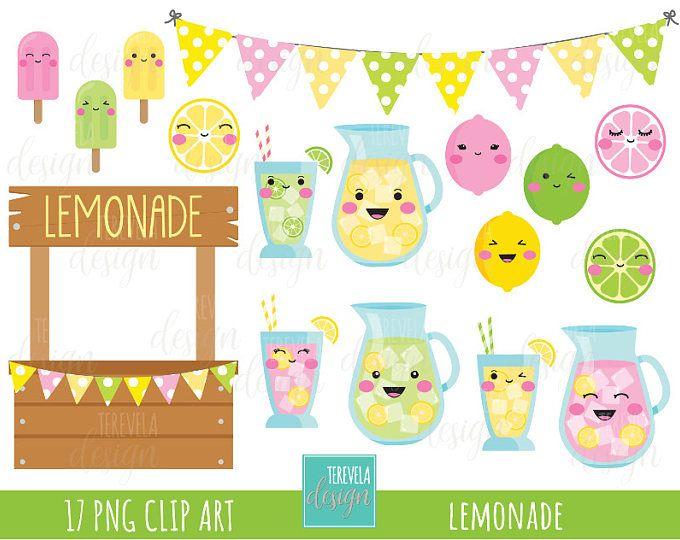 50% SALE LEMONADE Clipart, Summer Clipart, Commercial Use, Kawaii Lemon,  Kawaii