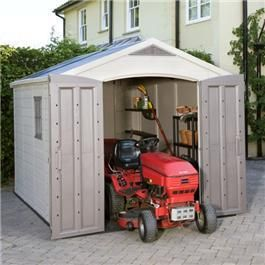 Keter Garden Storage – Fortis 8 x 11 Plastic Garden Shed. Keter's range of plastic sheds and plastic storage buildings includes a wide range of solutions for all your storage needs. Ranging in size from a particularly large, upscale plastic storage building featuring wide double-door access and reinforced steel construction to smaller plastic storage buildings, Keter has the perfect plastic storage building for you.
