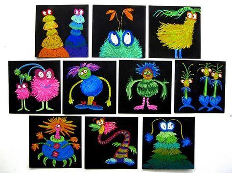 Kunst in der Grundschule: lustige bunte Monster