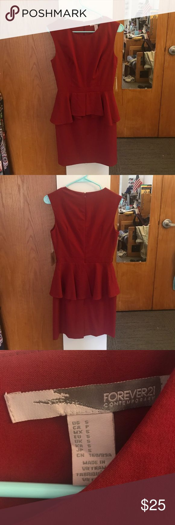 NWT Forever 21 Red Peplum Dress S brand new Forever 21 red peplum dress, tags still attached. Size Small. Perfect for work! Forever 21 Dresses