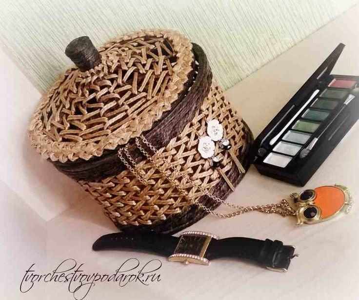 Плетеная шкатулка корзинка из джута. Все фотографии и мастер-класс на сайте tvorchestvovpodarok.ru