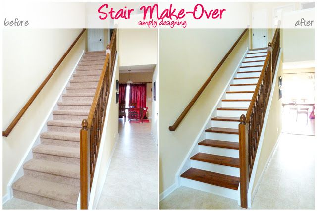 Stair Make-Over - Author ripped up her carpet and refinished the stairs to create an upscale hardwood stair case!  {Love this!}