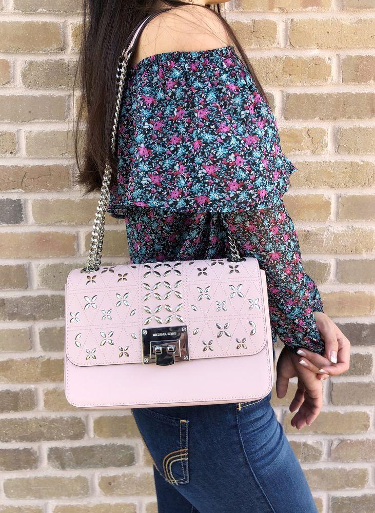 09c70c110d6d8a NWT Michael Kors Tina Stud Medium Shoulder Flap Bag Chain Crossody Blossom  Pink #MichaelKors #Shoulderbag