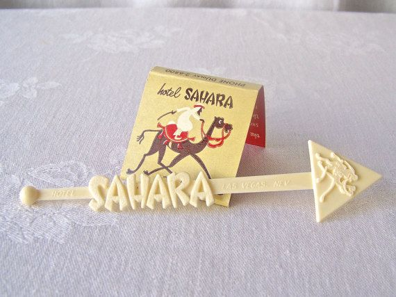 Vintage Sahara Hotel Swizzle Stick and Matchbook by CynthiasAttic