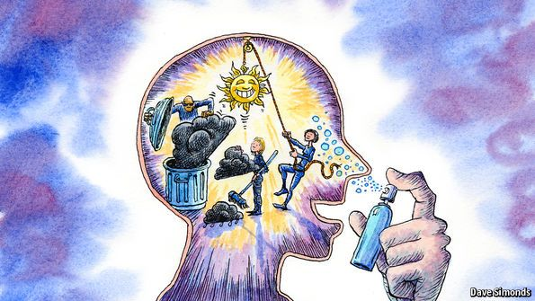sniffing at a new solution for 'chemical imbalance' in monoamines eg serotonin that mediate feelings as cause of depressive mental illnesses. A nasal aerosol mimics the effect of another neurotransmitter glutamate using the anaesthetizing drug ketamine to aim at human brain's NMDA receptors | image: The Economist