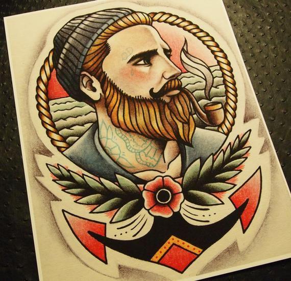 The Ginger Sailor Tattoo Art Print Sailor Tattoo Traditional Sailor Tattoos Sailor Tattoos