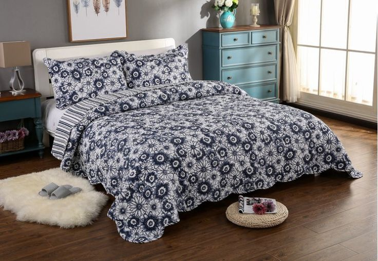 Amazon|君のホームカザリ ベッドカバー キルト ベッドスプレッド ソファーカバー ケイーン キング用 3点セット 100%綿 マリン柄 (W)|ベッドカバー オンライン通販