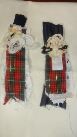 The Two Sisters Stall.  Anna's fabric brooches handmade with scraps.  Love the tartan