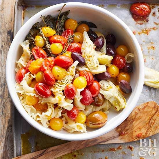 Sheet pan pasta sauce is a revelation! Roasting the vegetables brings out their sensational summer flavors—and allows you to multitask by prepping the pasta and a side salad all at once.