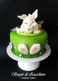 taart met fondant konijn
