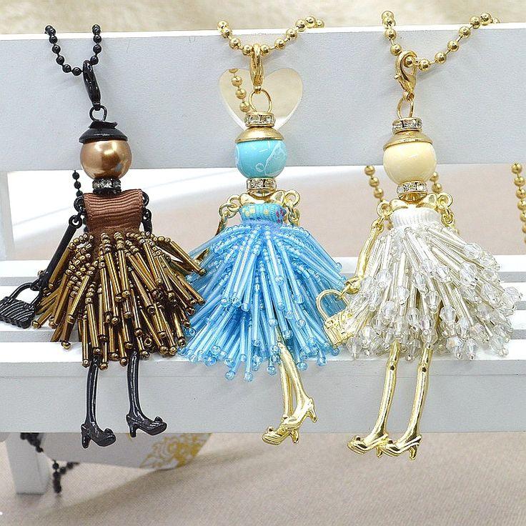 Barato 10 pcs mulheres por atacado francês Paris menina pingente boneca colar bonito talão vestido boneca artesanal colar cristal bijuterias, Compro Qualidade Colares com pingente diretamente de fornecedores da China: