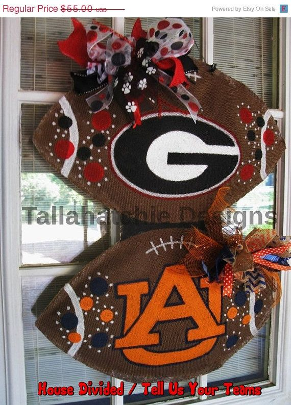 25% Off TODAY Georgia Burlap Football Door Hanger Auburn House Divided Football Collegiate Tailgating Hand painted Door Hanger Football