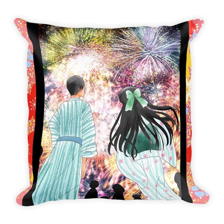 Anime pillow hanabi anime couple in japanese yukata kimono