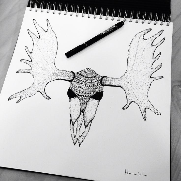 Ink moose skull