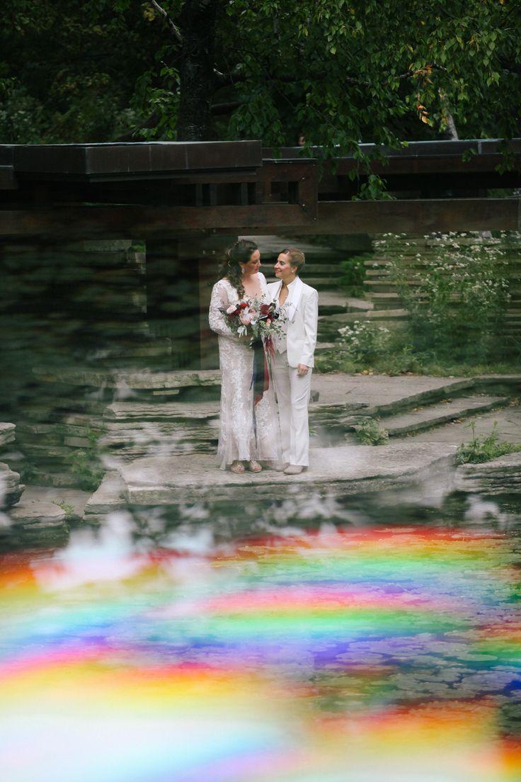 Lesbian wedding in Chicago, prism wedding photographs