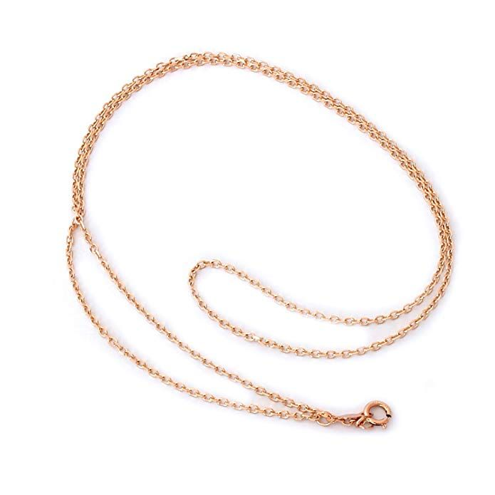 14k Rose Gold 1.0mm Cable Link Chain Necklace 10-30