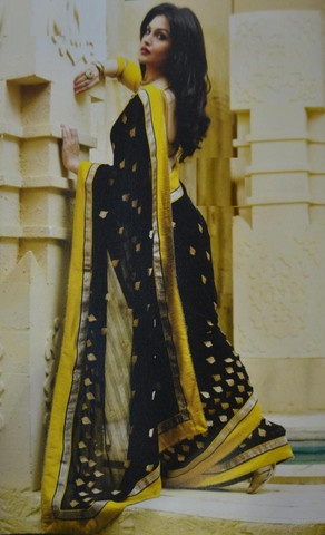 Black and Yellow Chiffon Material Sarees : Khushi Collection - YF-10336
