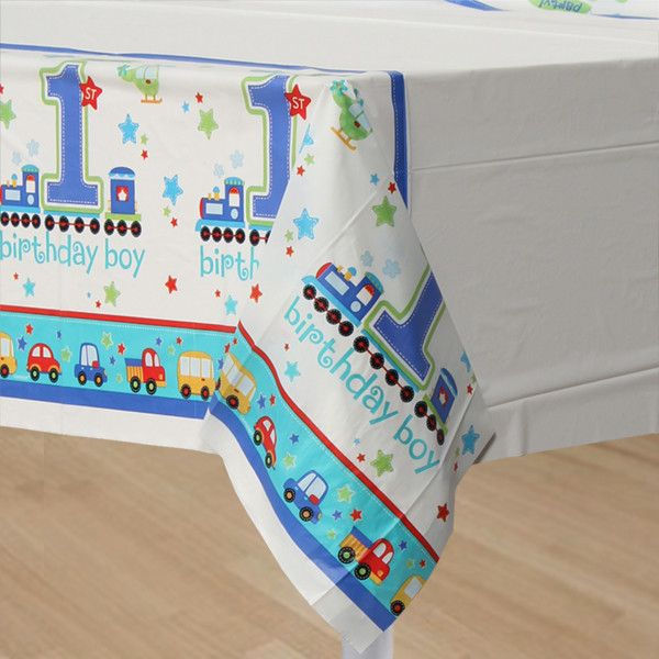 All Aboard Plastic Tablecover | 1 ct