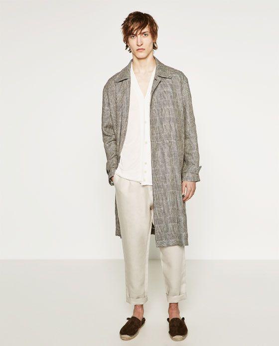 Zara Man Check Trench Coat Coat Fashion Zara