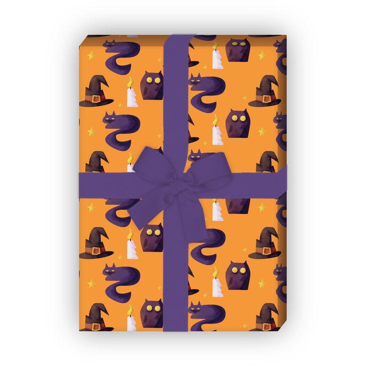 Halloween Geschenkpapier mit Eulen und Katzen (4 Bögen; 32 x 48cm), in orange 1