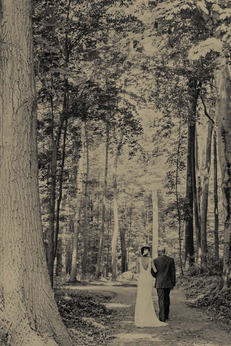 Eastside Of Eden Photography Mentor Wedding Portrait Wildwood Cultural Center Bride And Groom Walking In Woods Black White Shots The