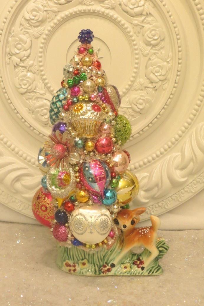 Vintage Reindeer Planter with Ornaments Bottle Brush Tree Christmas Decor Pink | eBay