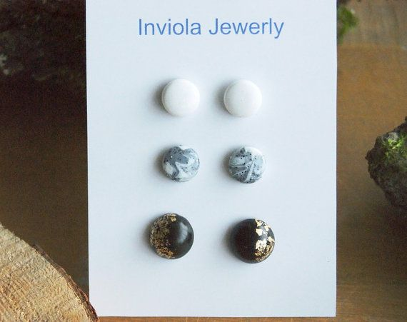 SALE Set 3 clay stud earrings White Grey marble by InviolaJewerly