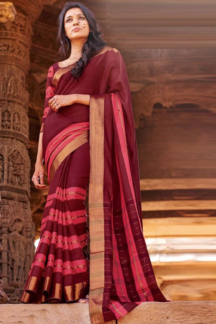 Online #Shopping of Brown Printed Party Wear Cotton Saree-Krisha from SareesBazaar, leading online ethnic clothing store  offering  latest collection of sarees, salwar suits, lehengas & kurtis